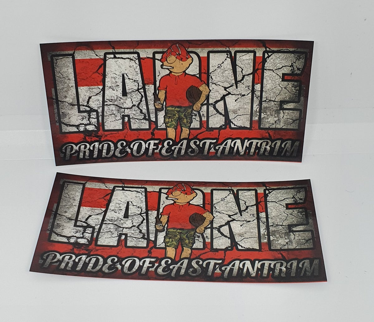 Pack of 25 10x5cm Larne Pride of East Antrim football/ultras stickers.