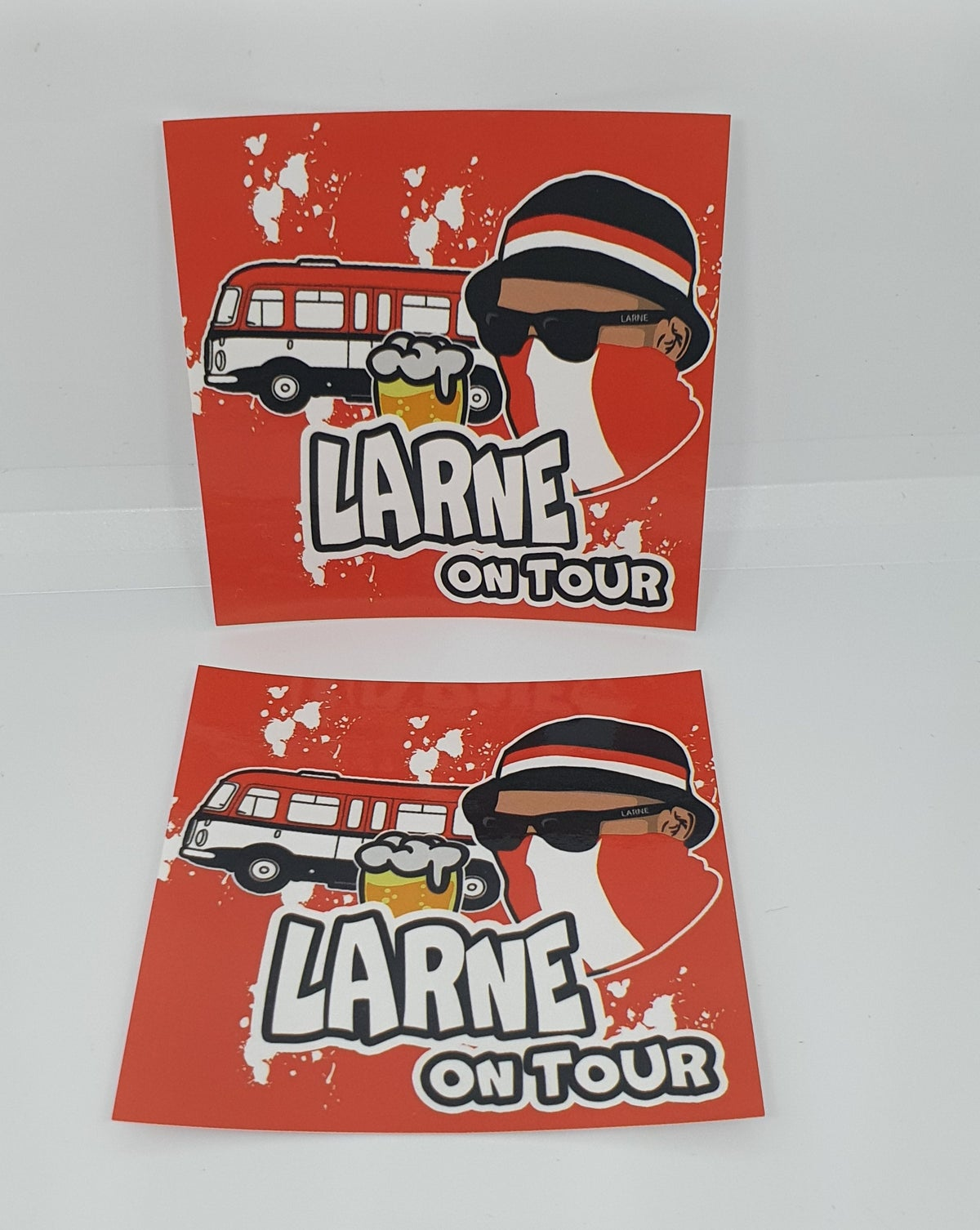 Pack of 25 7x7cm Larne On Tour Football/ultras Stickers.