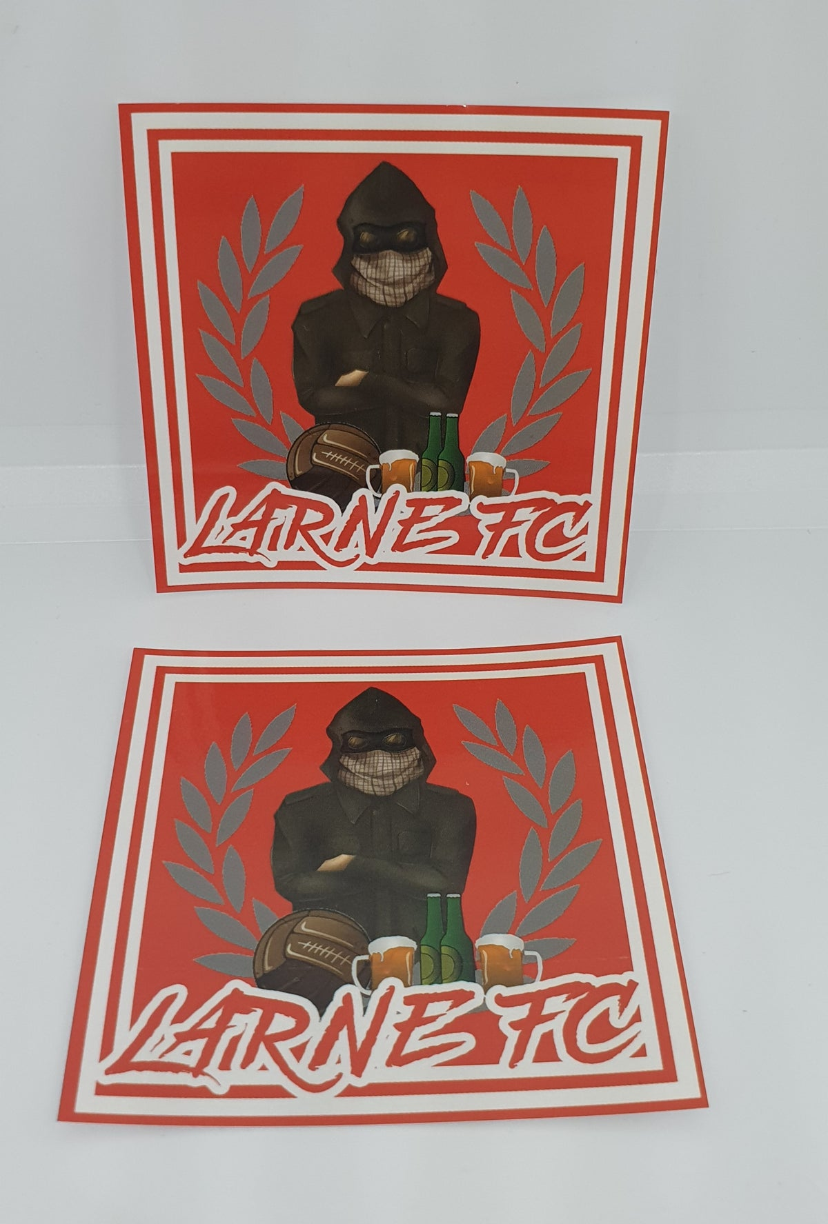 Pack of 25 7x7cm Larne Football and Beer football/ultras stickers.