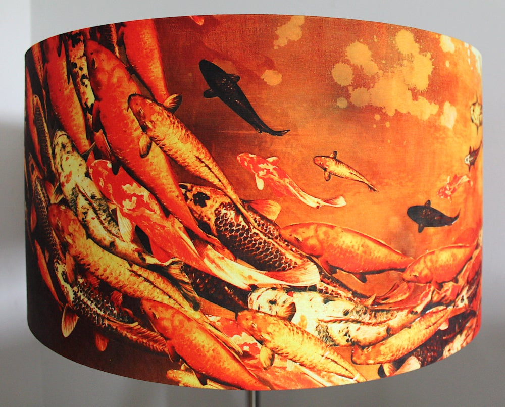 Image of Sunlit Koi Drum Lampshade by Lily Greenwood