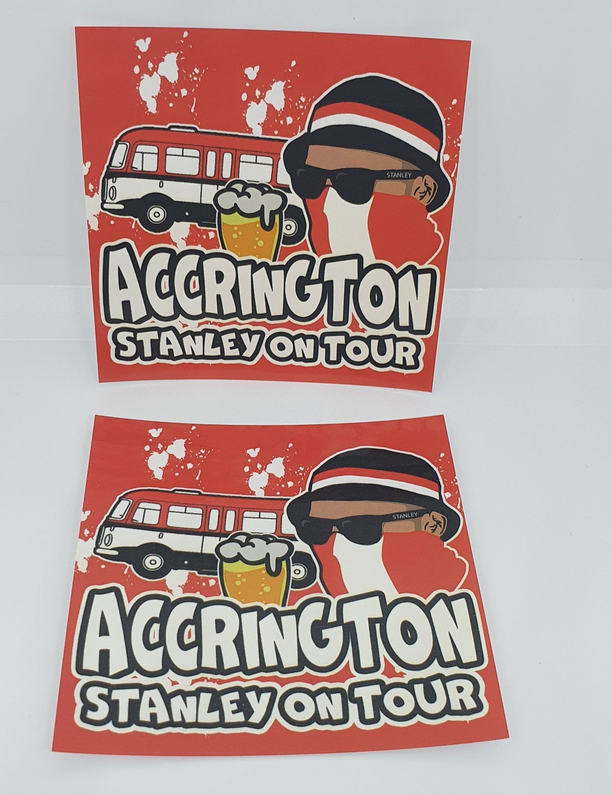 Pack of 25 7x7cm Accrington Stanley Football/ultras stickers.