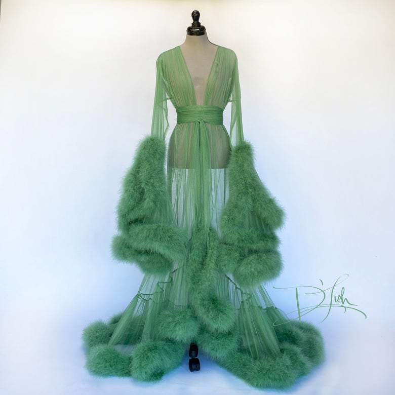 "Image of Sage Deluxe ""Cassandra"" Dressing Gown"