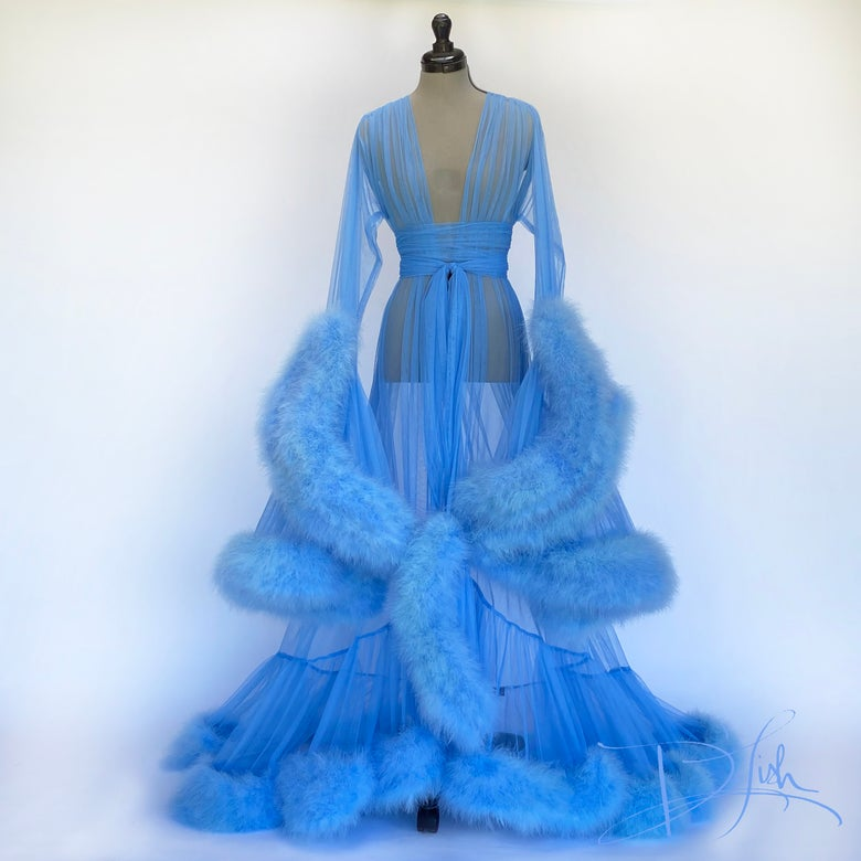 Image of Sky Blue Deluxe Cassandra Dressing Gown
