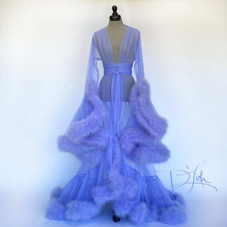 "Image of Periwinkle Deluxe ""Cassandra"" Dressing Gown"