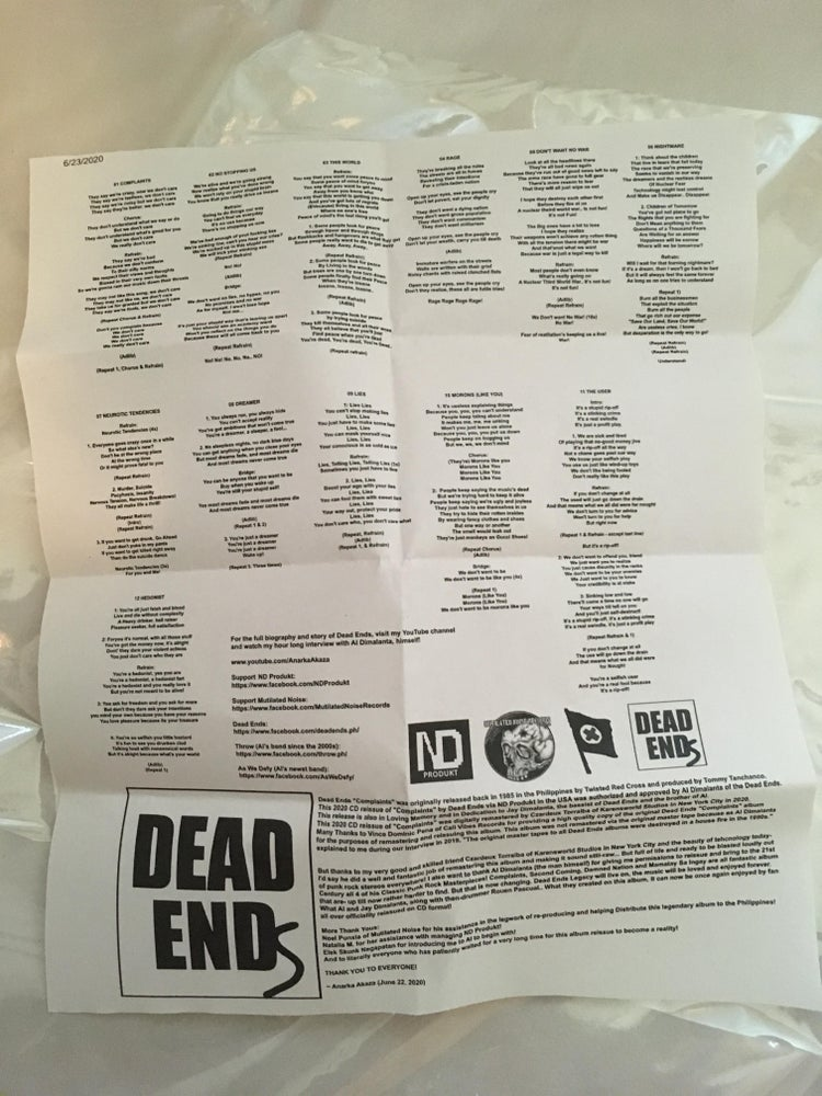 Image of Dead Ends - Complaints CD