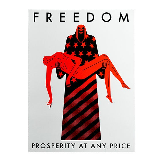Image of CLEON PETERSON - FREEDOM / PROSPERITY AT ANY PRICE (WHITE) COVID 19