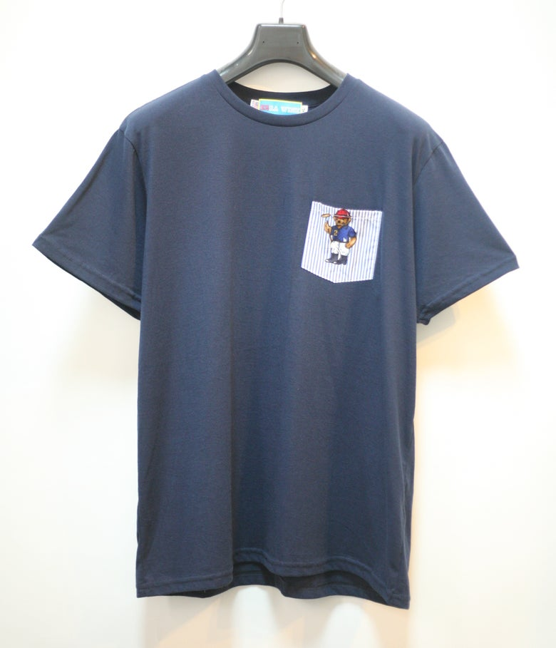 Image of Recycled Indigo Teddy Bear Pocket Tee Shirt