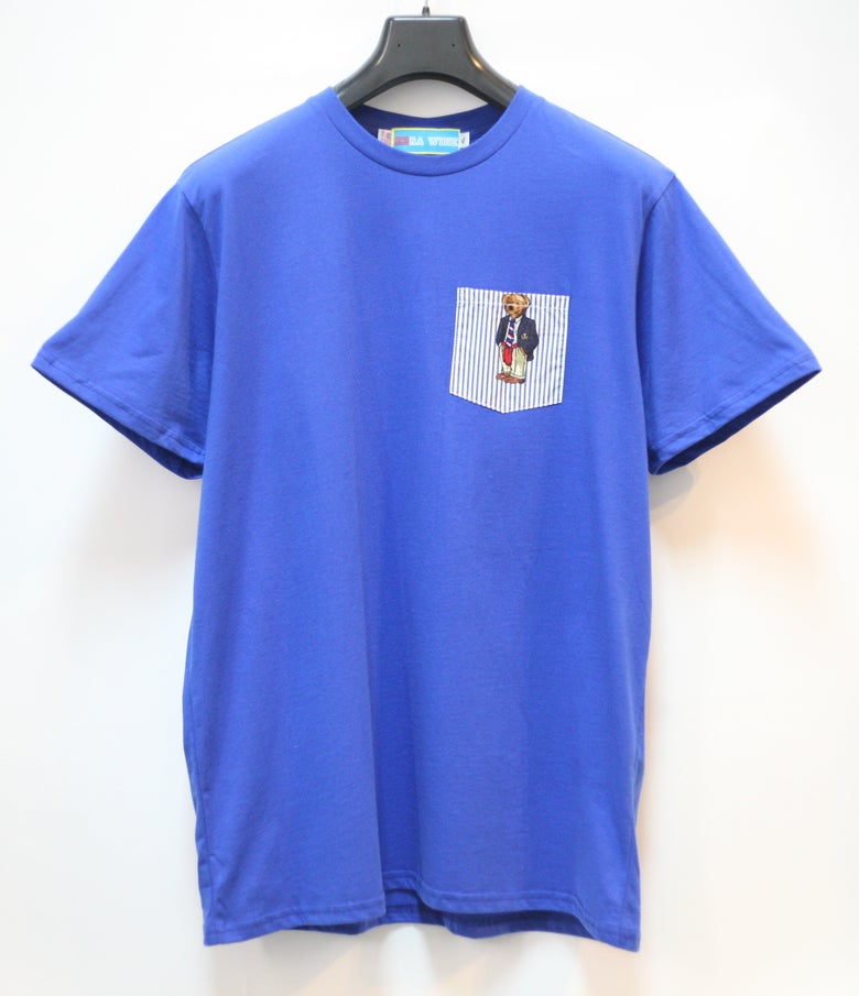 Image of Royal Blue Teddy Bear Pocket Tee Shirt