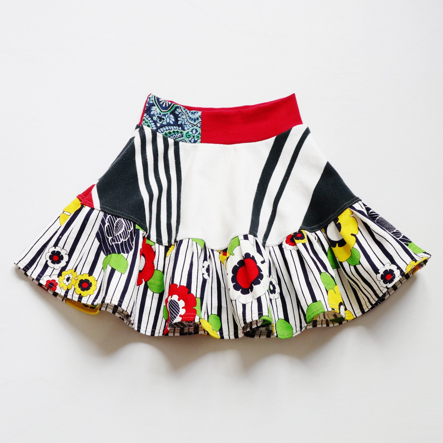 Image of summer stripe navy blue red stripes flowers vintage fabric size 4 four print bright flouncy skirt