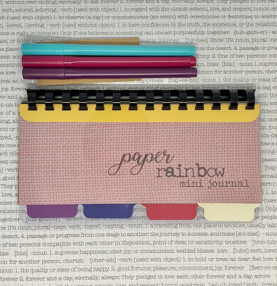Image of paper rainbow mini journal - pinks & yellows
