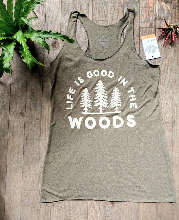 Image of Life Is Good In The Woods Ladies Racerback
