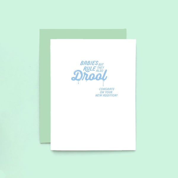 Image of babies drool letterpress card - new baby - congratulations baby card
