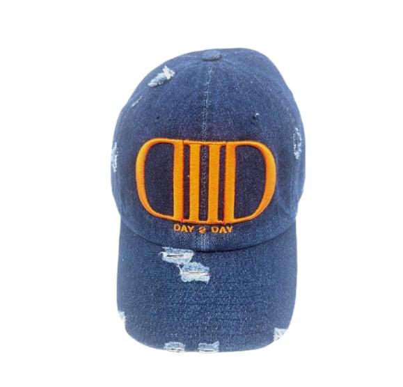 Denim/Orange Distressed Dad Hat