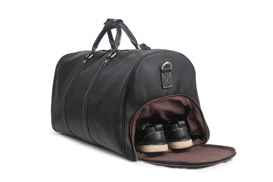 Image of Handmade Large Vintage Full Grain Leather Duffle Bag with shoe Compartment