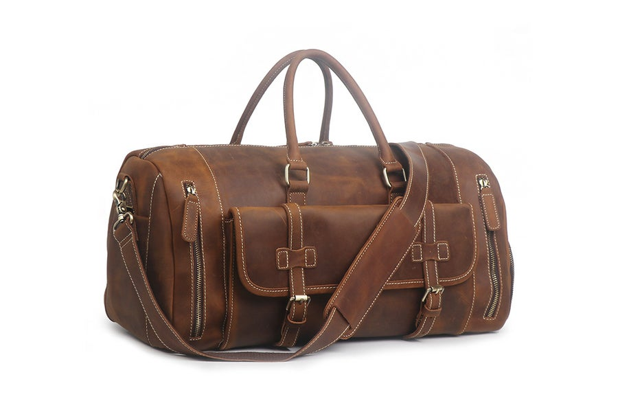 Image of Large Size Handmade Leather Travel Bag with Shoes Compartment, Duffel Bag  LJ1188L