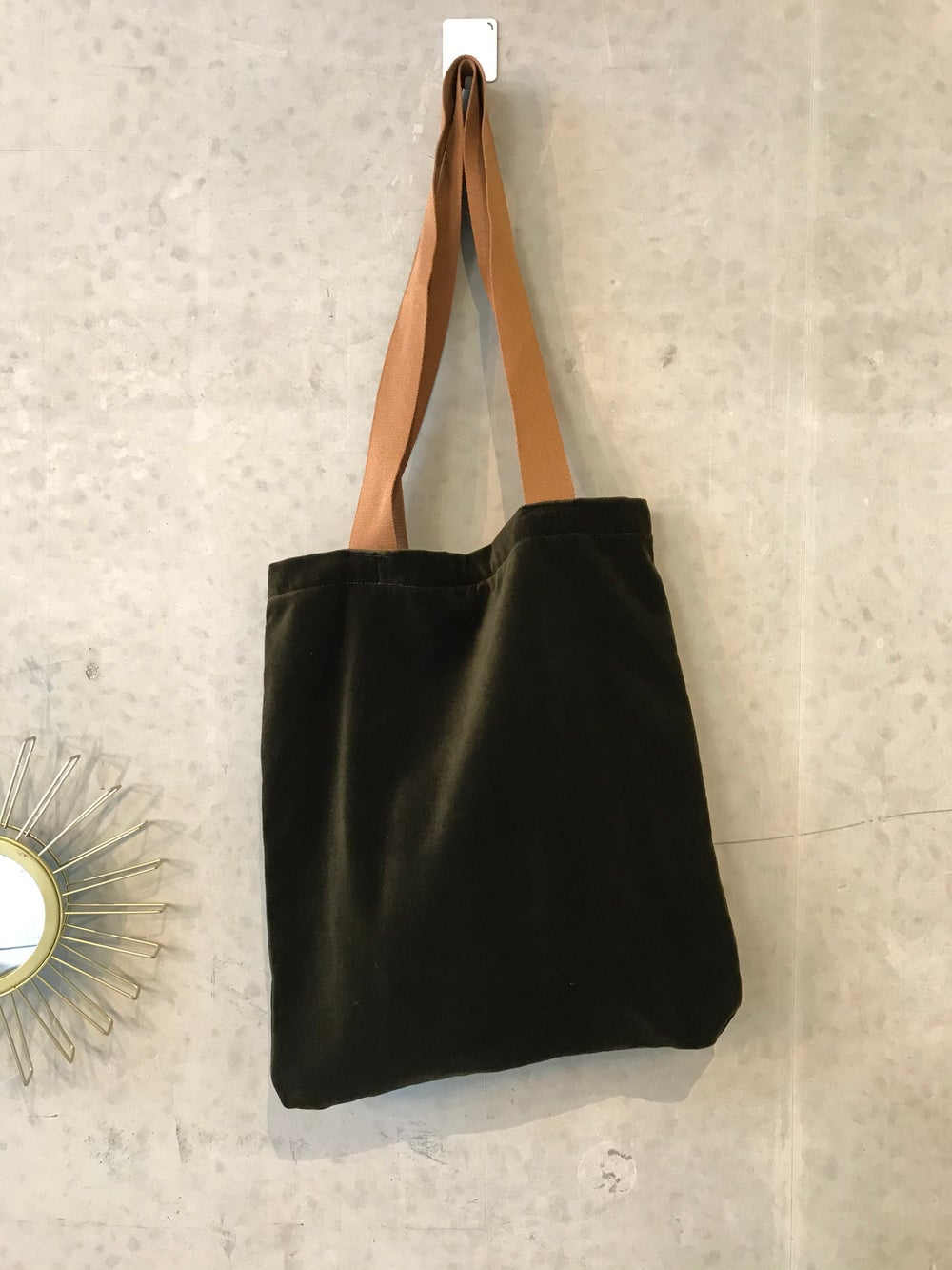 Image of Green velvet tote bag