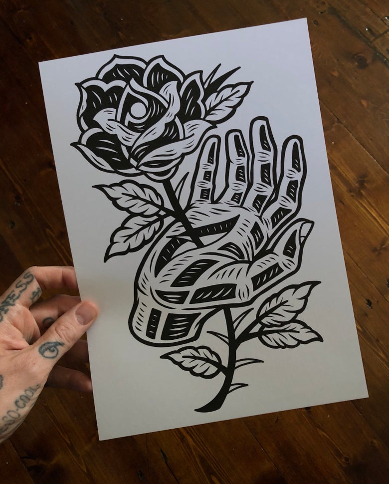 Image of Hand and Rose print