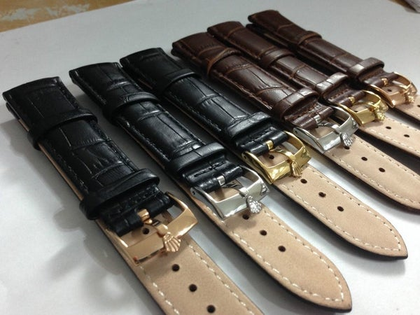 Image of A LOT OF 10 x ROLEX,QUALITY CROC LEATHER STRAPS,18MM,20MM,BLACK,BROWN,