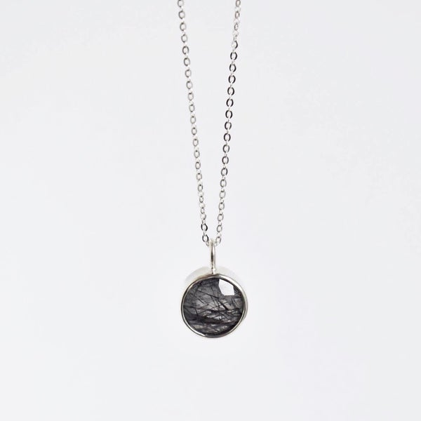 Image of Black Tourmalinated Quartz round cut silver necklace