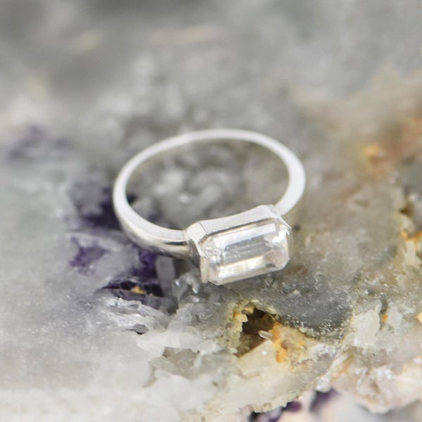 Image of Clear Quartz octagon cut silver ring