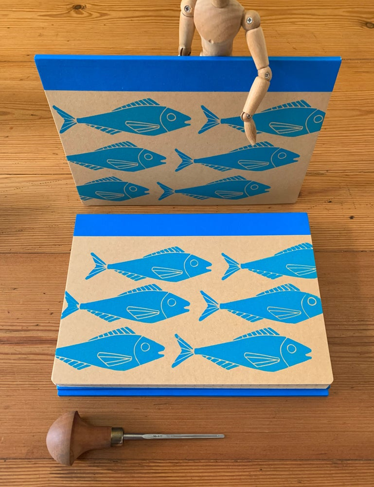 Image of Linoprinted Notebook Blue Fishes