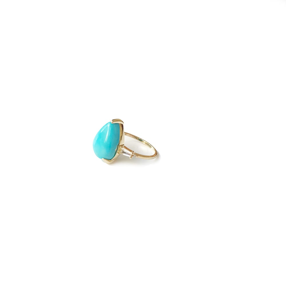 Image of Teardrop Turquoise Deco Ring