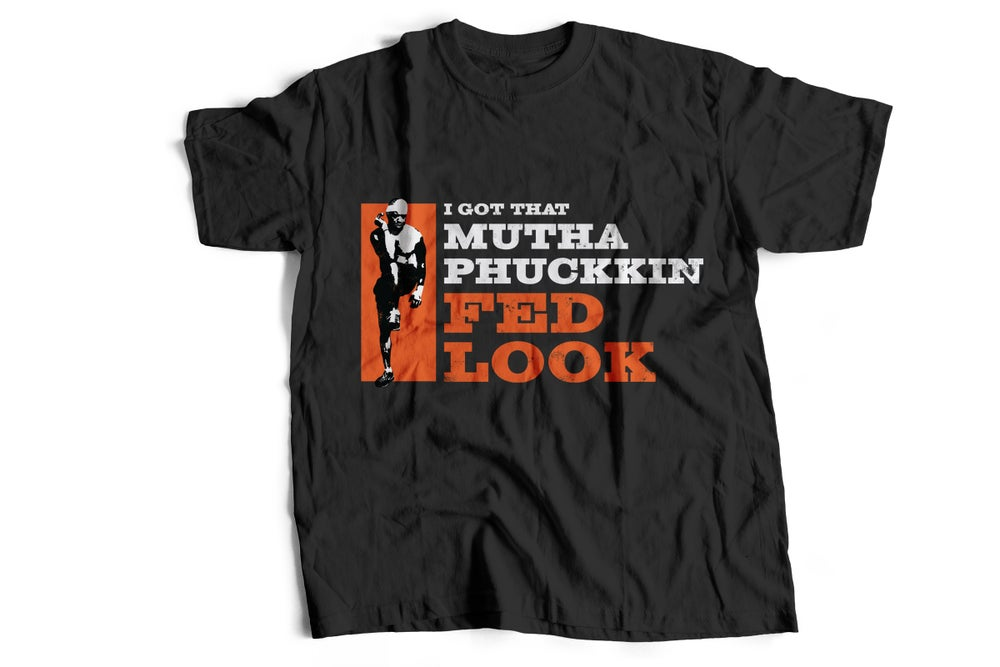 "Image of ""I GOT THAT MUTHAPHUCKKIN FED LOOK"" --- Black Tee Burpees Image (ORANGE)"