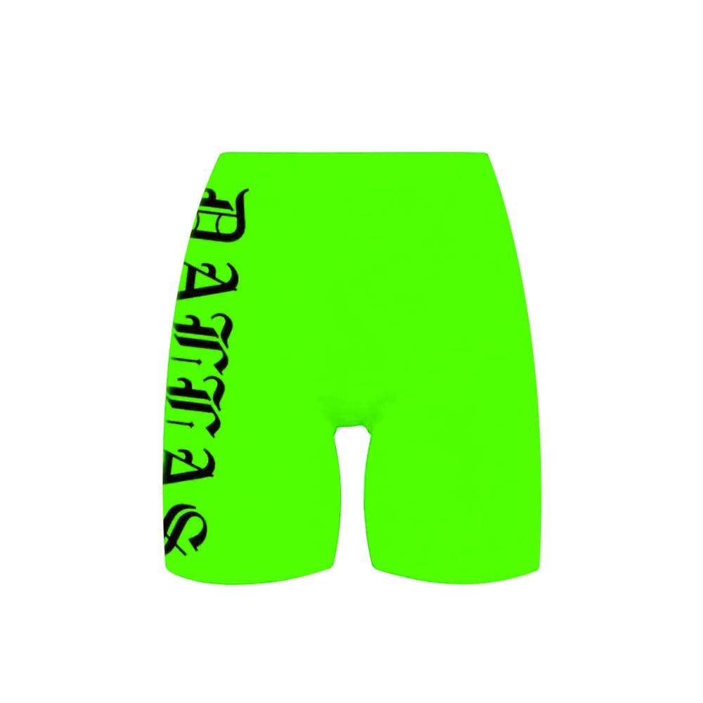 Image of Dallas Neon Green Bike Shorts