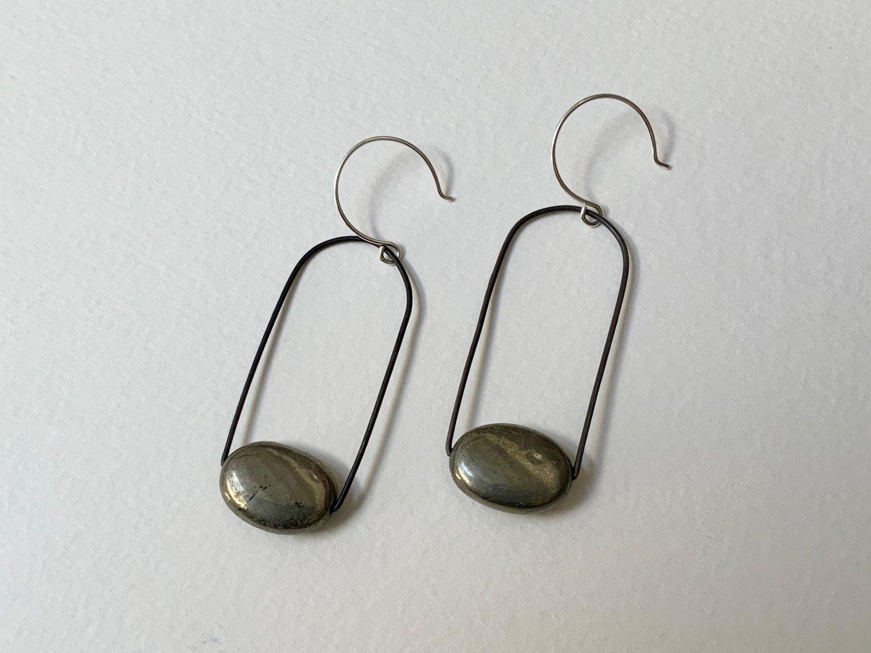 Image of Fool's gold earrings, pyrite earrings