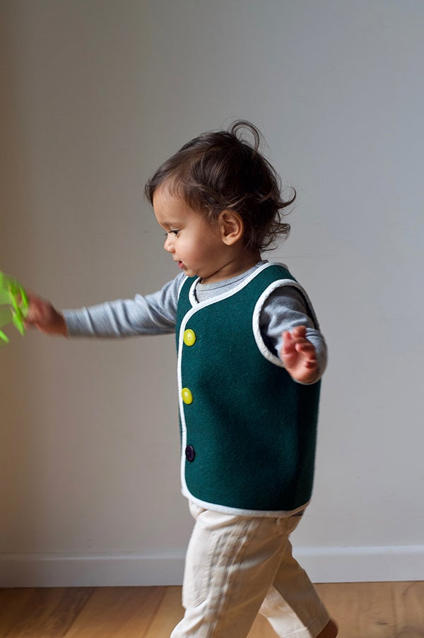 Image of Handmade Woollen Vest - Forest Green, 18mths
