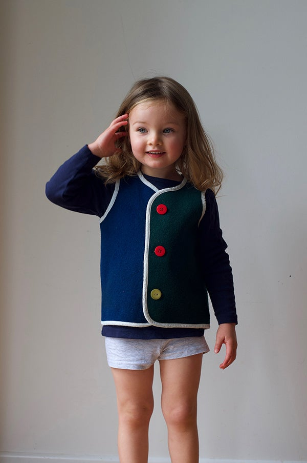 Image of Handmade Woollen Vest - Navy Blue/Forest Green, 2-3yrs