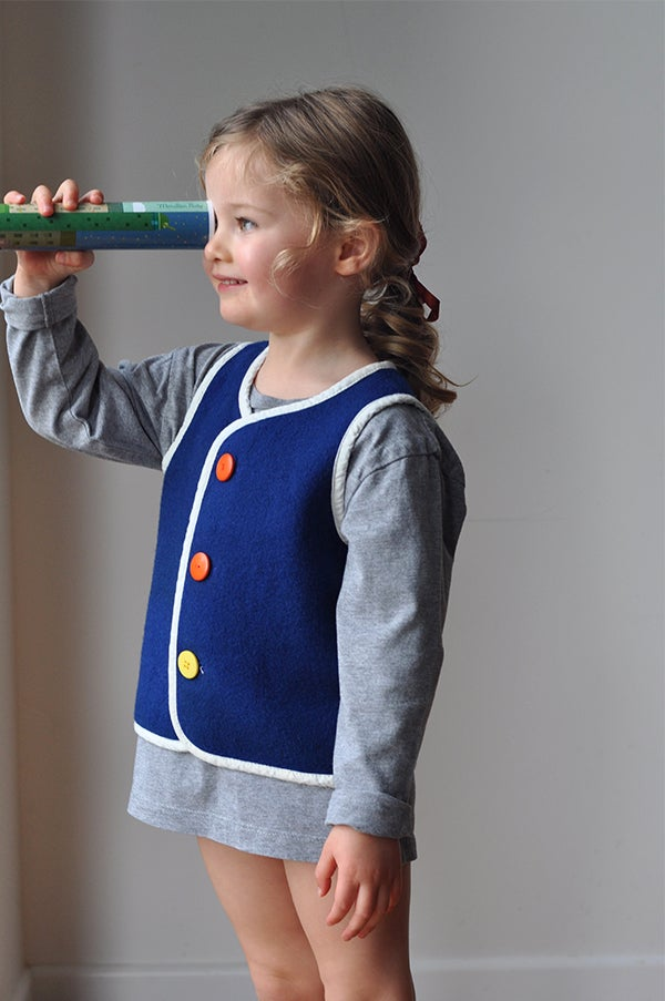 Image of Handmade Woollen Vest - Navy Blue, 2-3yrs