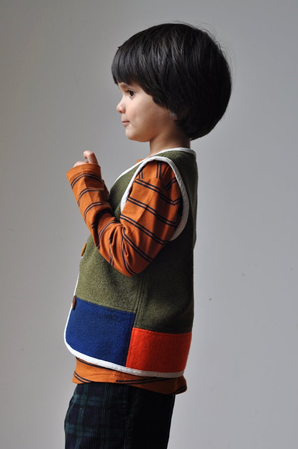Image of Handmade Woollen Vest - Olive/Navy/Orange, 3-4yrs
