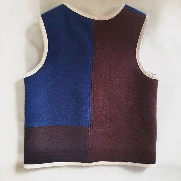 Image of Handmade Woollen Vest - Blue/Mulberry/Olive, 4-5yrs