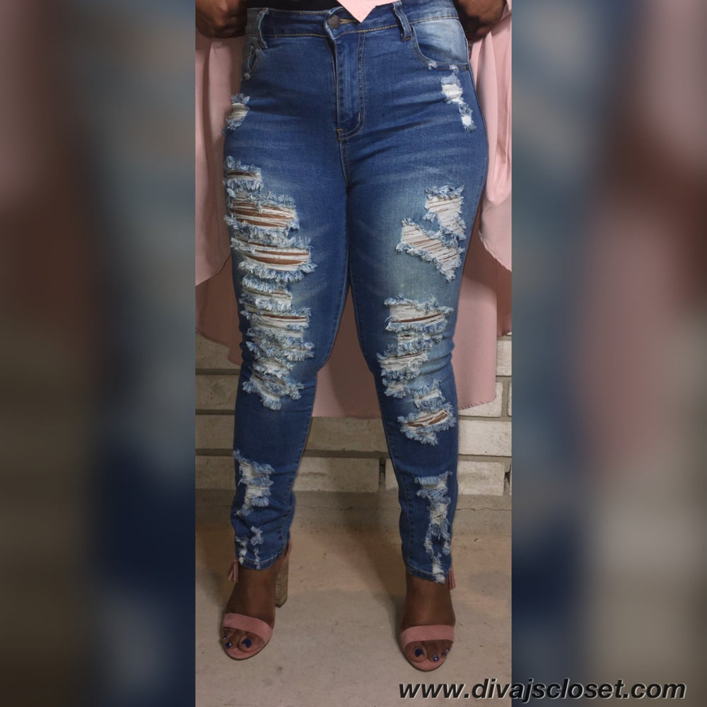 Image of Medium Wash Distressed Jeans