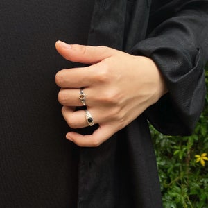 Image of Black Agate vintage style silver ring