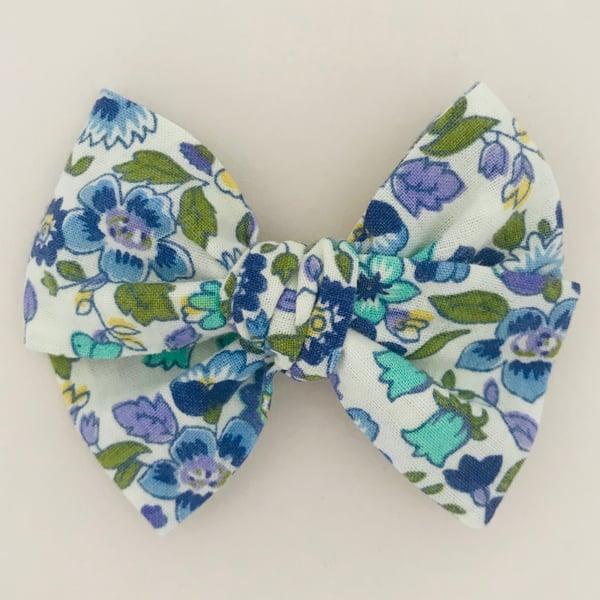 Image of Barrette coton bleu, turquoise & vert