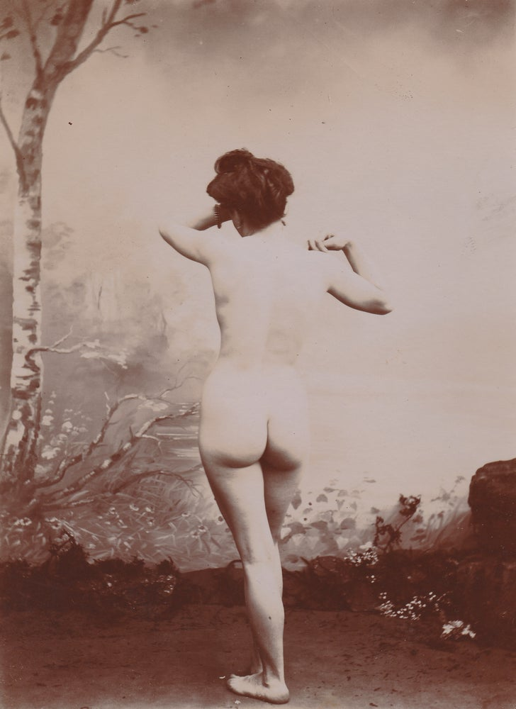 Image of Anonymous: woman posing like Phryné, ca. 1880