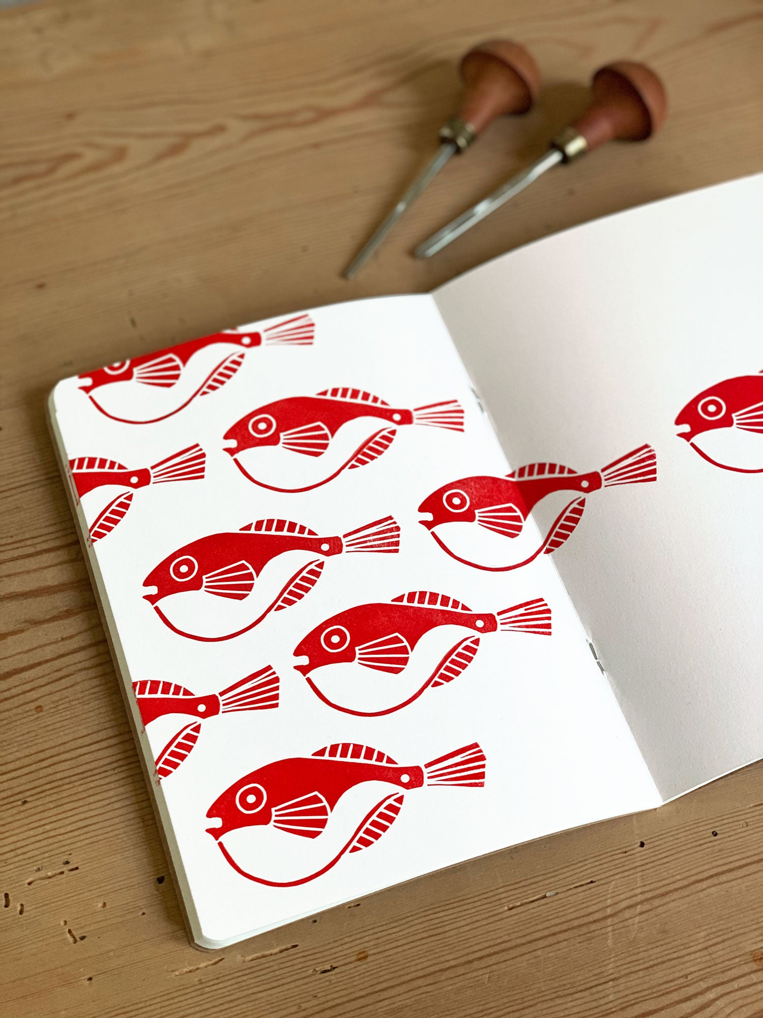 Image of Linoprinted Sketchbook Red Fishes