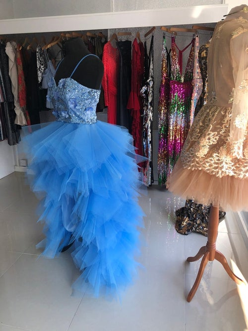 Image of Sequin Embellished Mullet Tulle Prom Dress