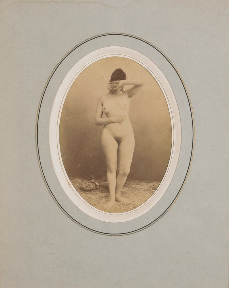 Image of Anonymous: female nude posing like Phryné, ca. 1865