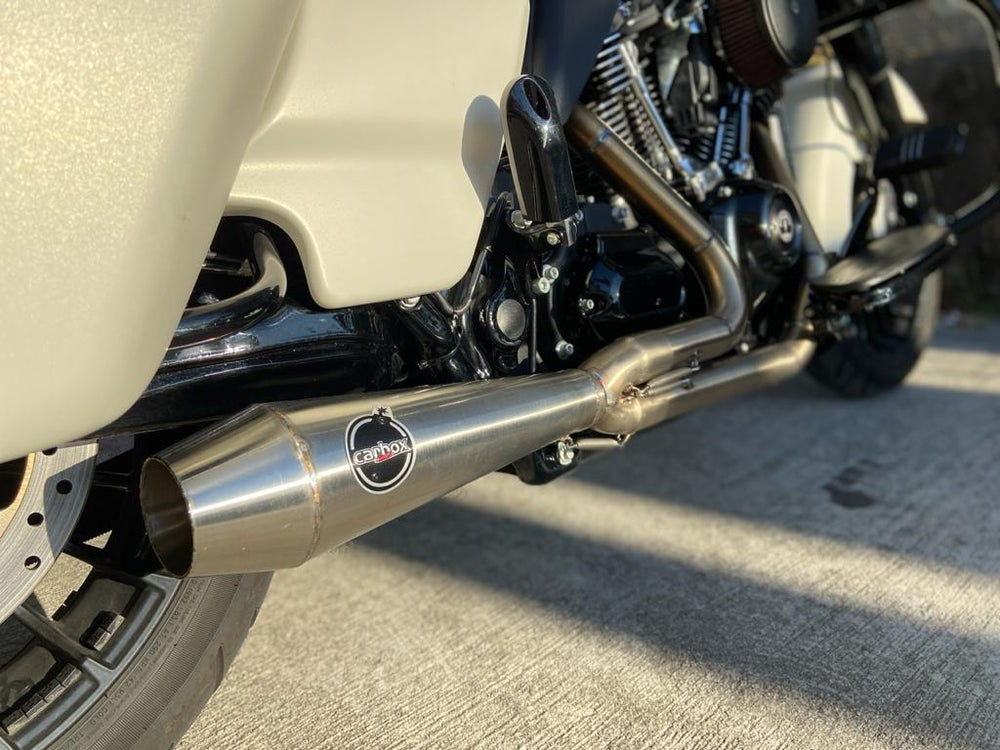 Image of New Dynamite Crew VS Carbox Racing 2x1 Stainless Exhaust for M8 Tourings