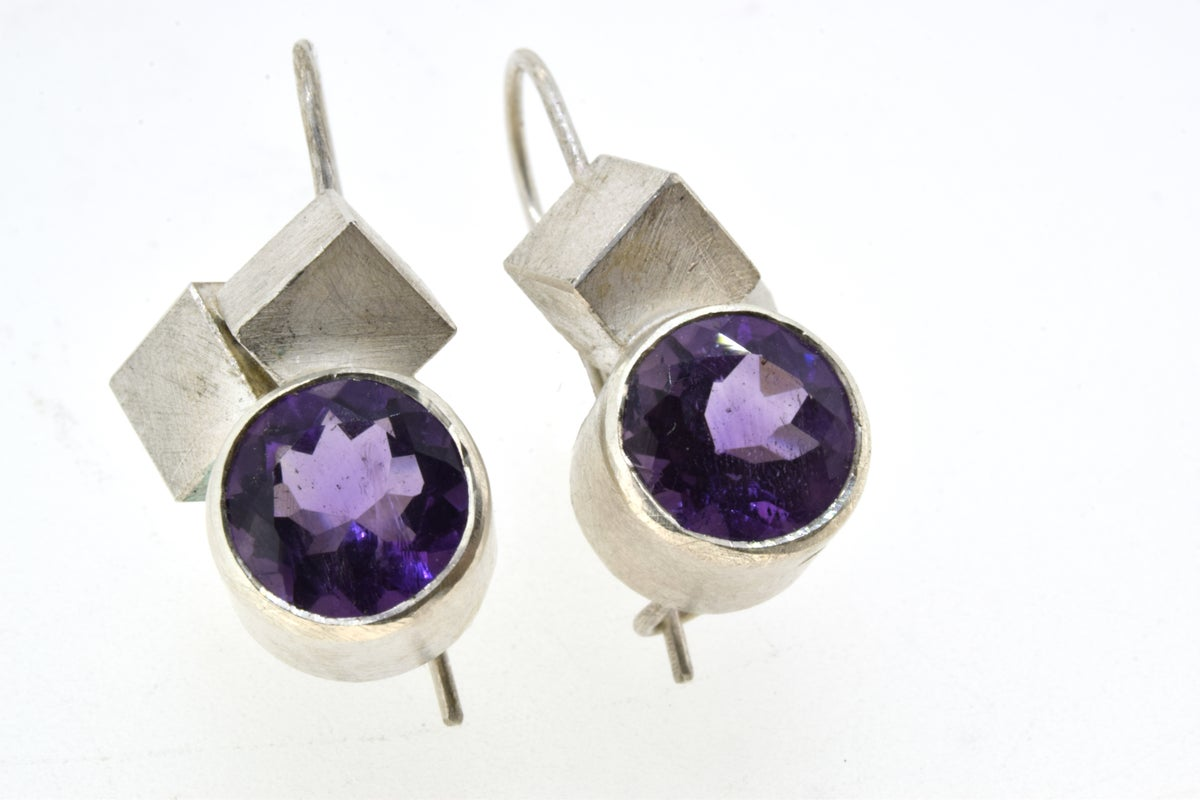 Amethyst cube cluster earrings. Chris Boland Contemporary Jewellery