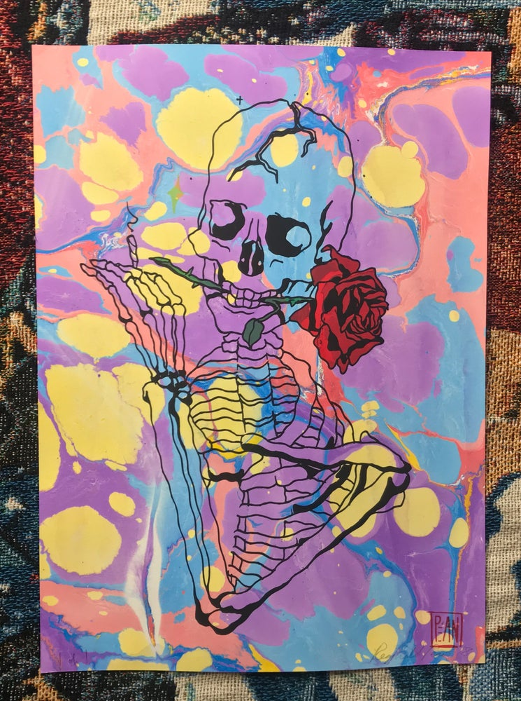 Image of Smokin' Bones marble print