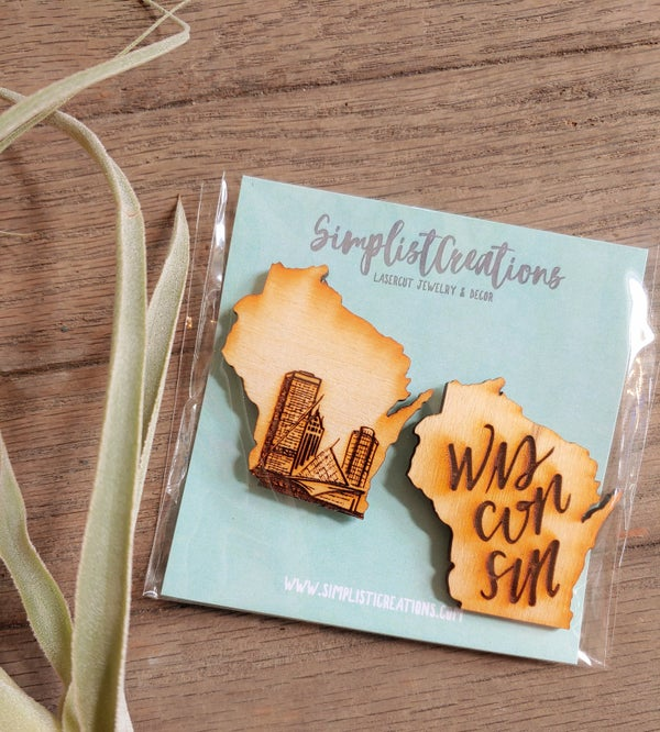 Image of Wooden Wisconsin Magnets