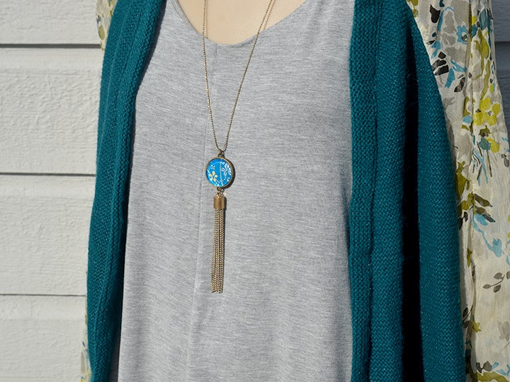 Image of double sided  glass tassel pendant - azure blue Moroccan