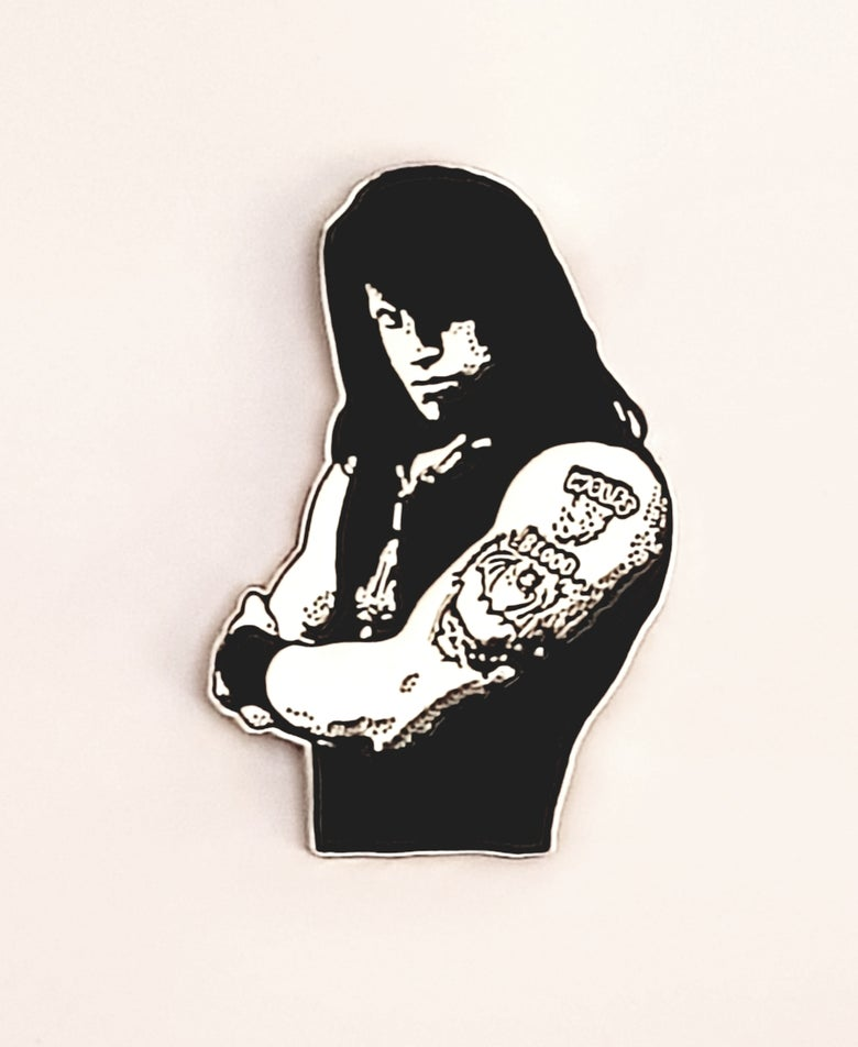 Image of Wolf's Blood tribute to Glenn Danzig limited edition shaped enamel pin