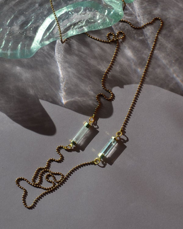 Image of simple single strand necklace with crystal prism columns