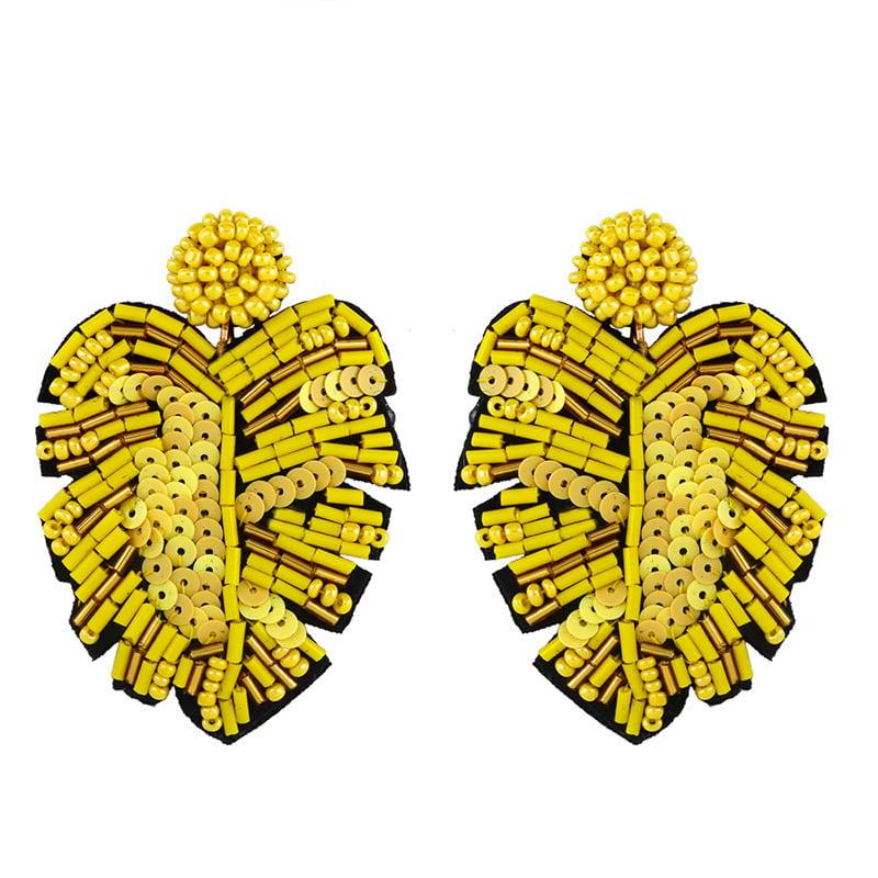 Image of Beaded Leaf Earrings