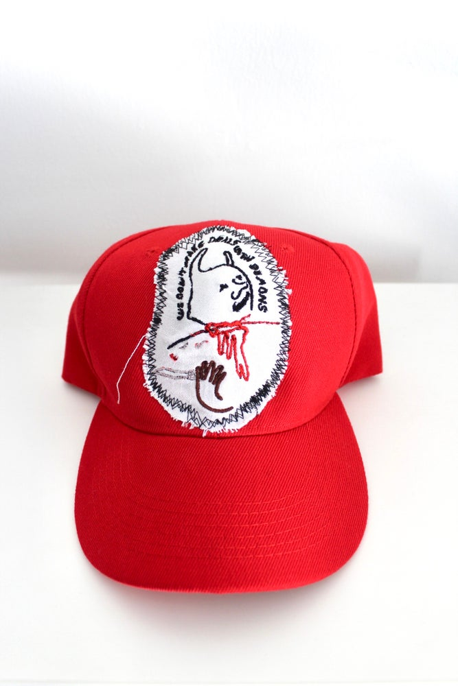 Image of we don't make deals with demons baseball cap in red